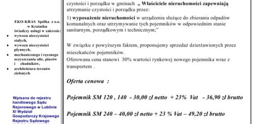 G. Kraśnik  oferta na sprzedaż pojemników  2013