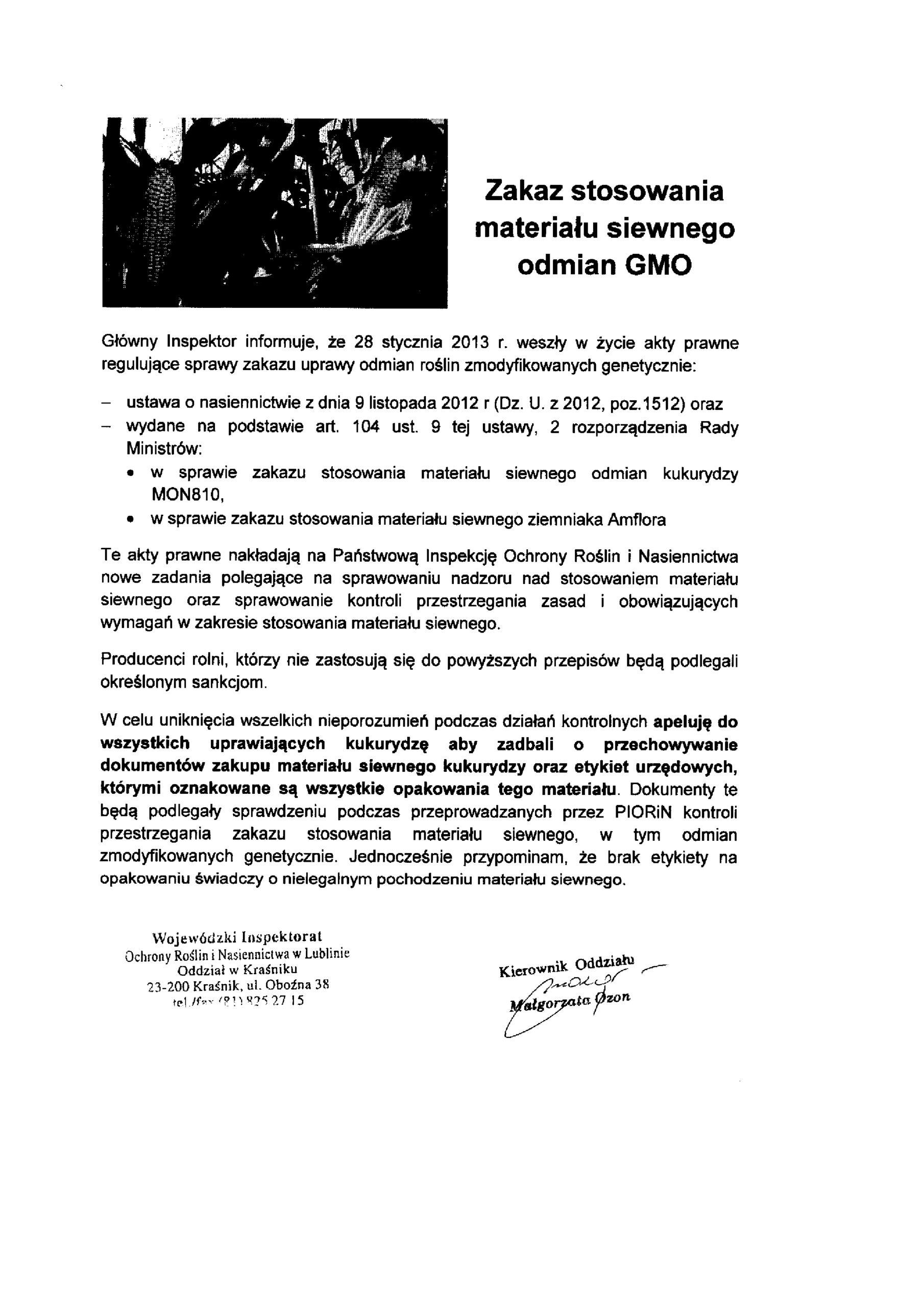 Informacja Wojewódzkiego Inspektoratu Ochrony Roślin i Nasiennictwa w Lublinie Oddział w Kraśniku.