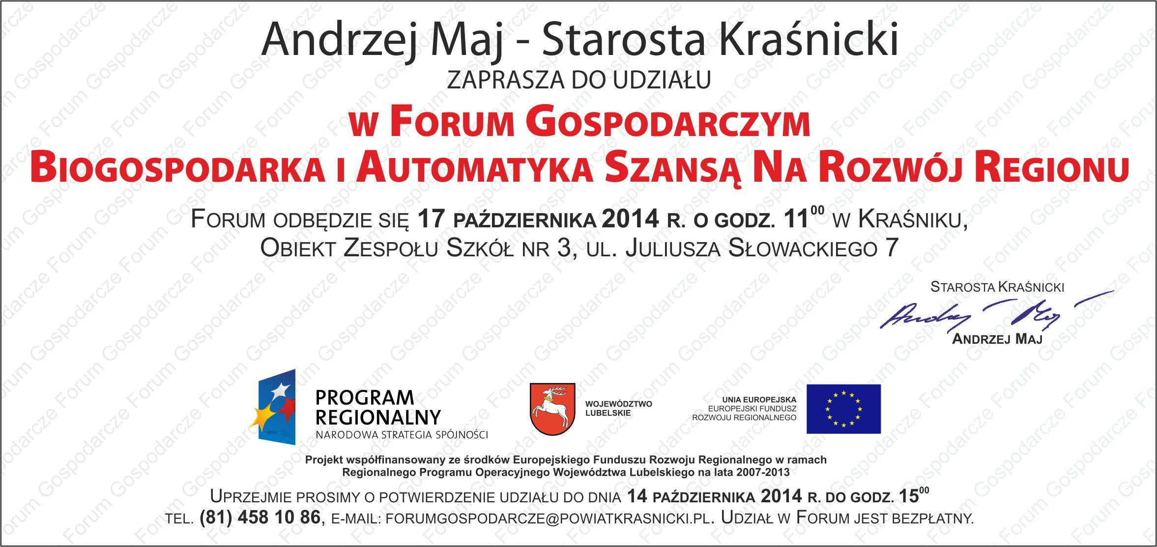 zaproszenie 2 forum gospodarcze