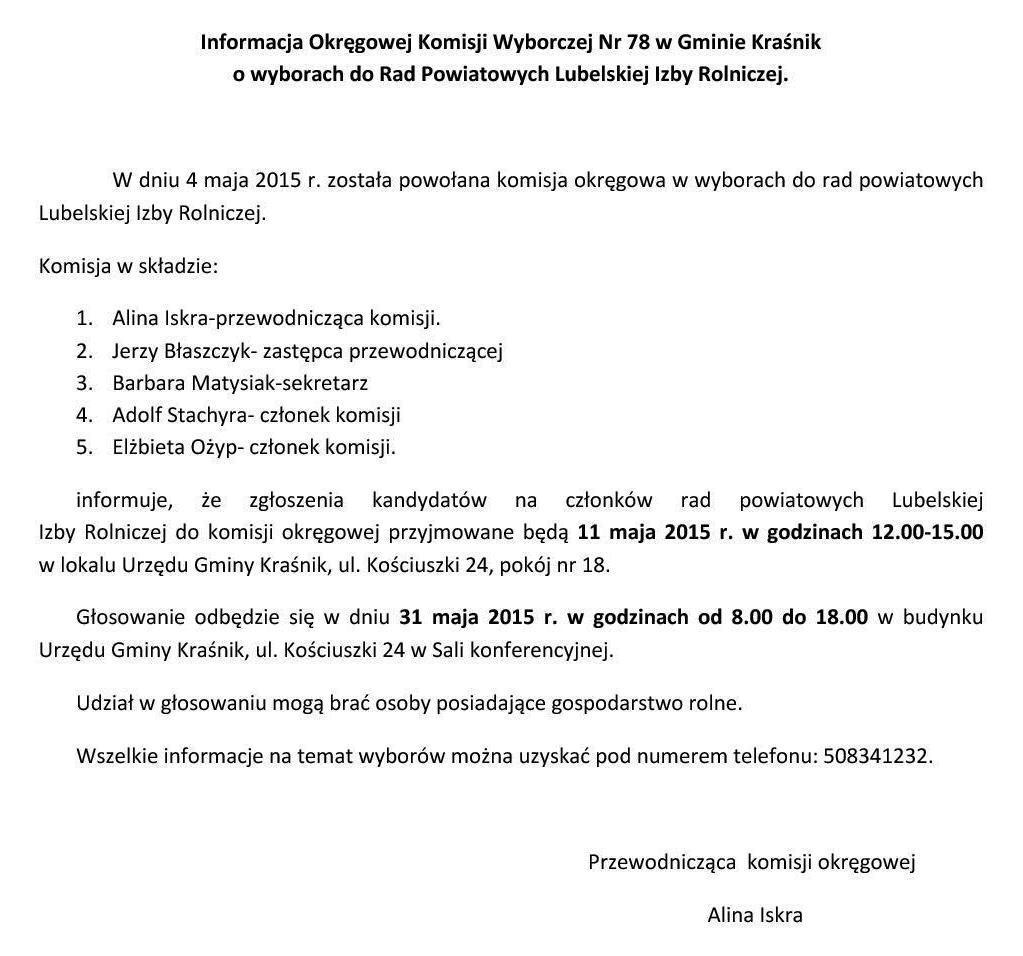 Informacja Okręgowej Komisji Wyborczej Nr 78 w Gminie  Kraśnik