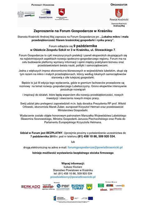 Zaproszenie na Forum Gospodarcze  w Kraśniku-1