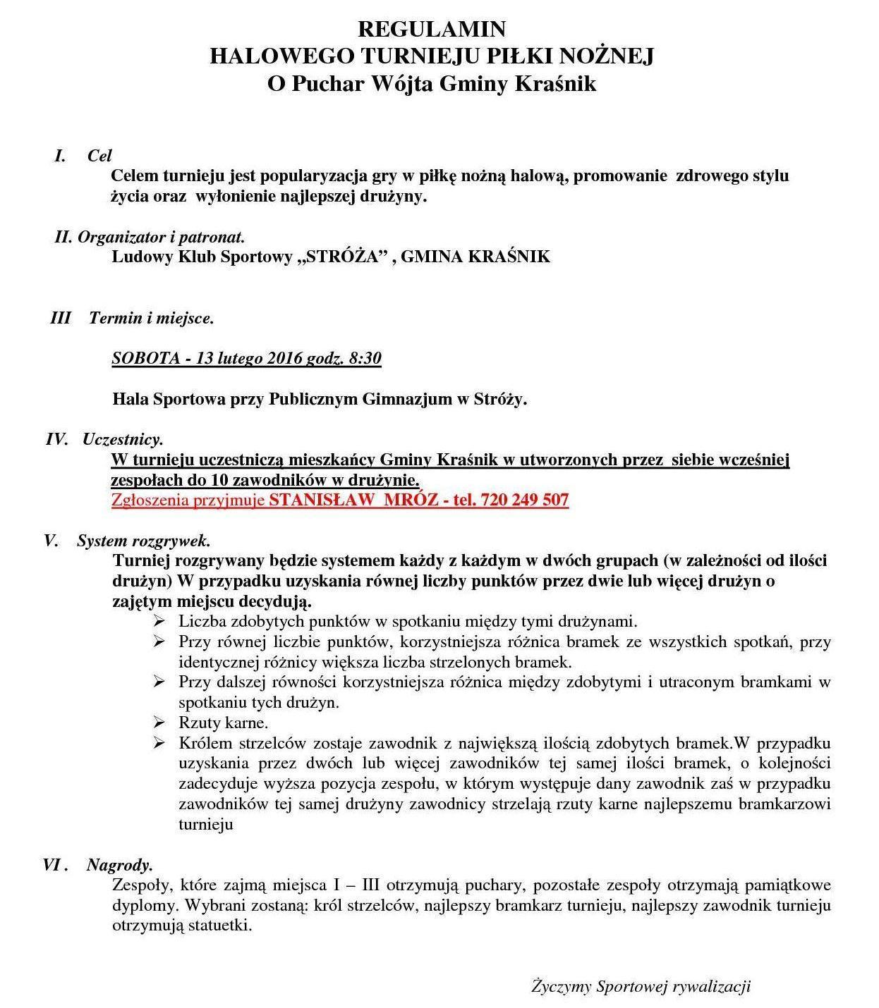 Regulamin Puchar Wójta Gminy Kraśnik1