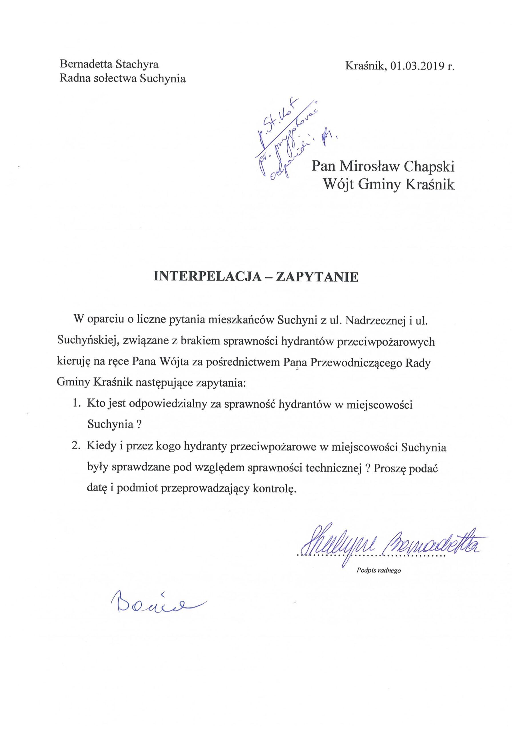 informacja Bernadetta Stachyra