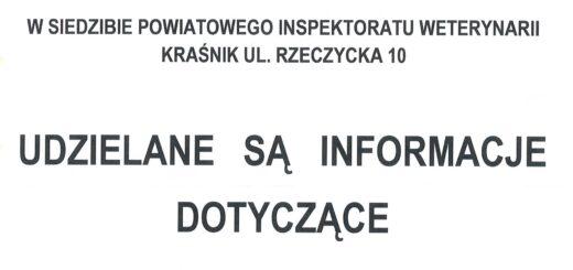 informacja Powiatowego Lekarza Weterynarii w Kraśniku