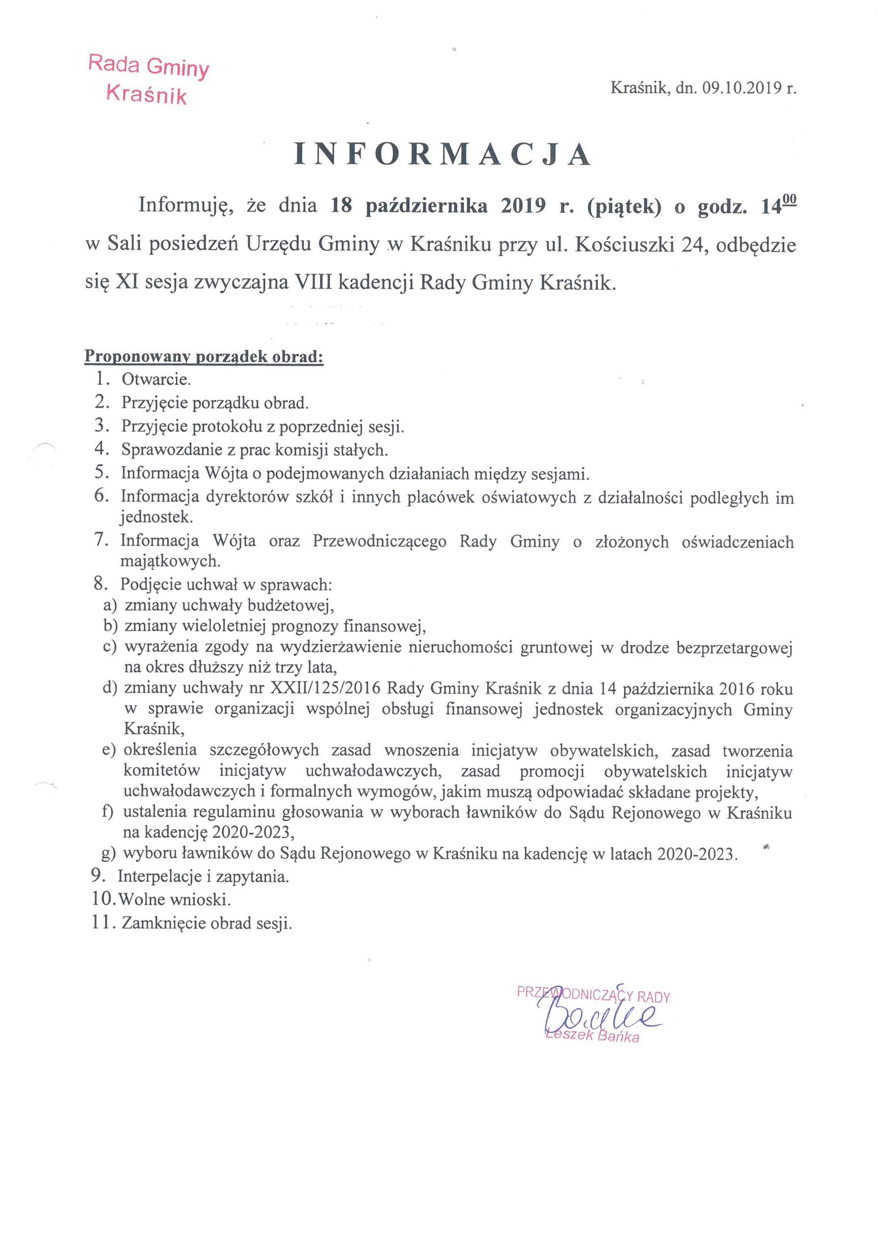 Informacja o XI sesji Rady Gminy Kraśnik scaled