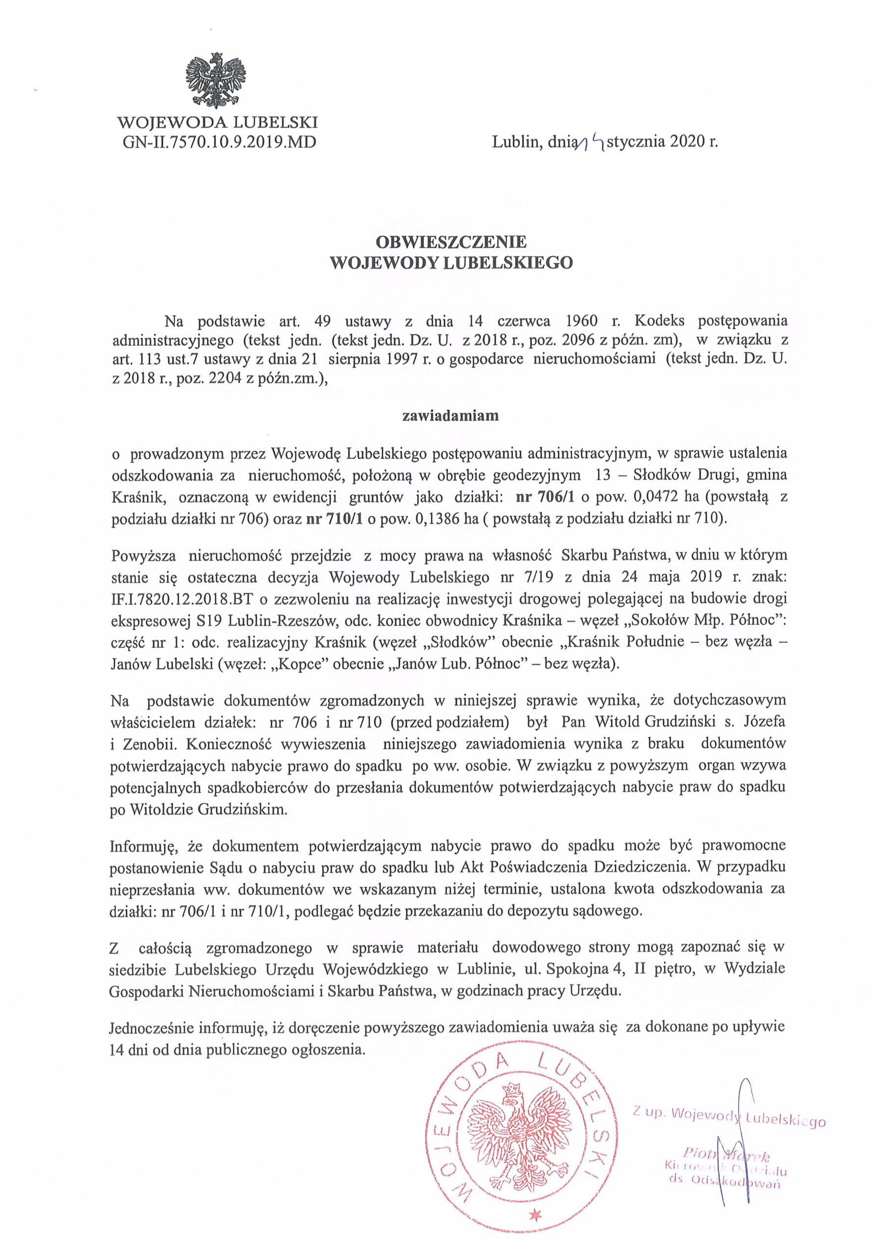 Obwieszczenie Wojewody Lubelskiego scaled