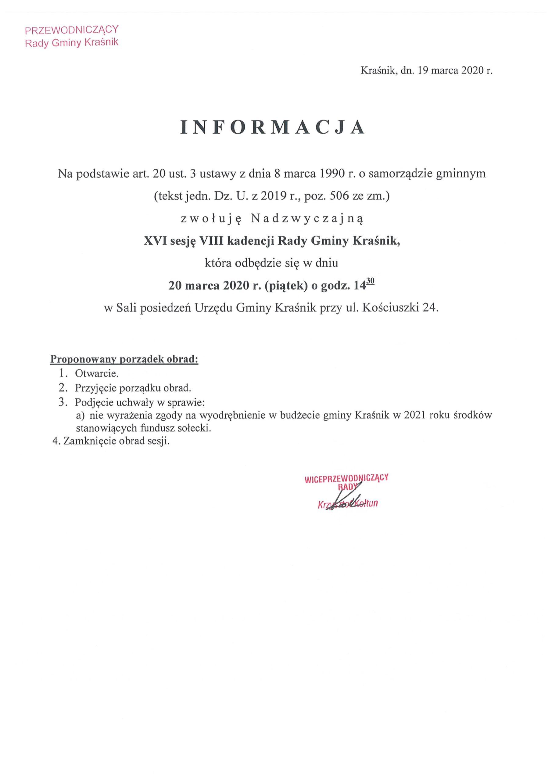 Informacja o XVI sesji scaled