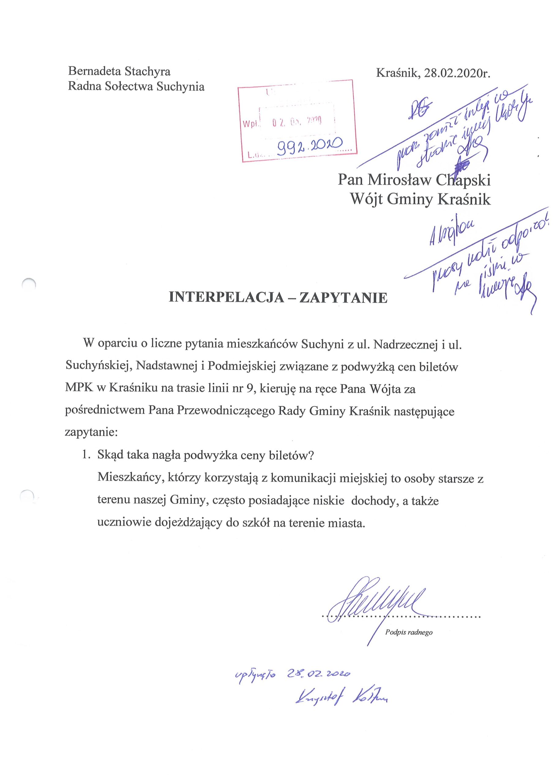interpelacja Pani Bernadetta Stachyra scaled
