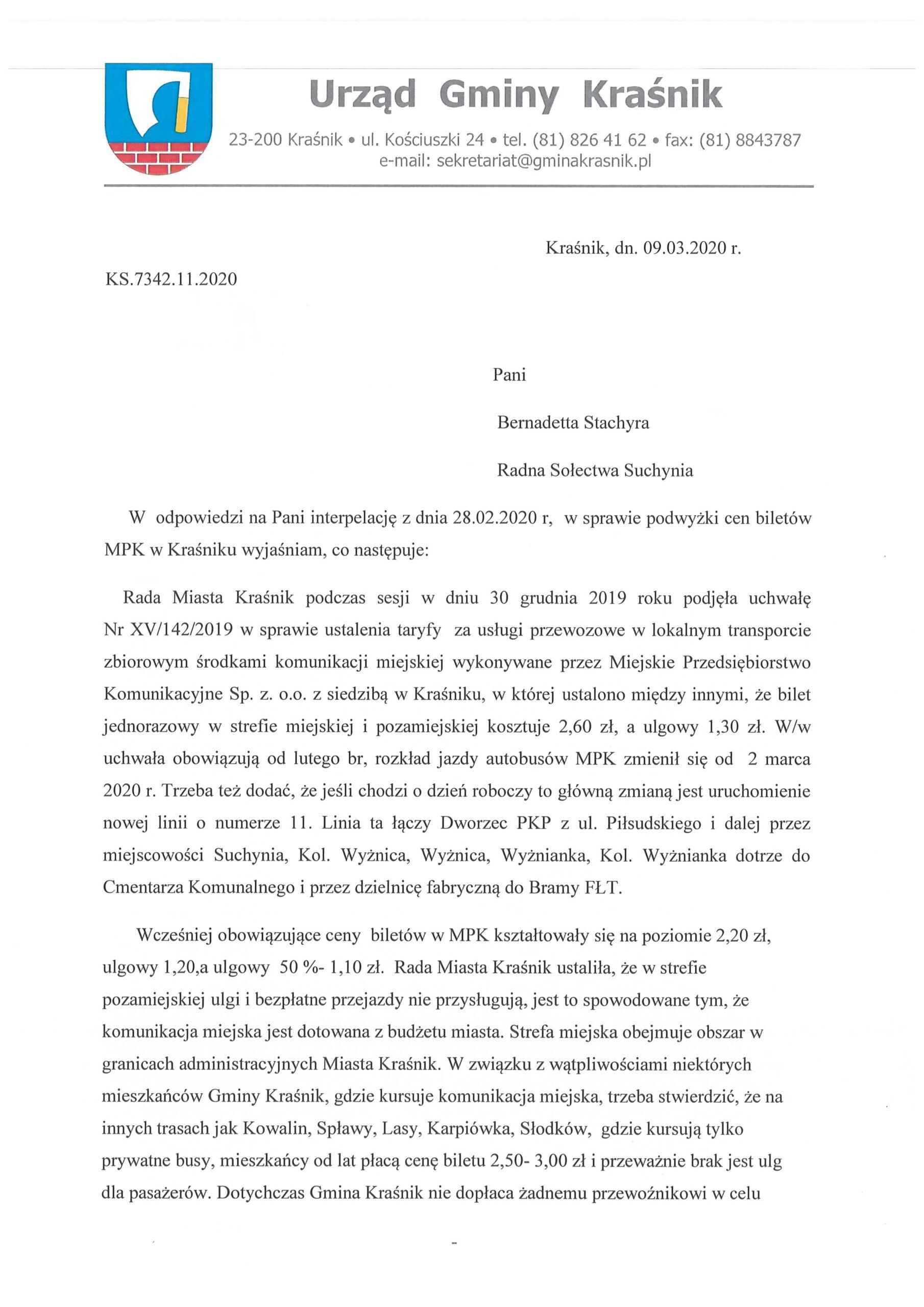 odp. na interpelację Pani Bernadety Stachyra