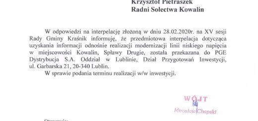 odp. na interpelację Pana Krzysztofa Kowalskiego Radnego oraz Pana Krzysztofa Pietraszka Radnego scaled