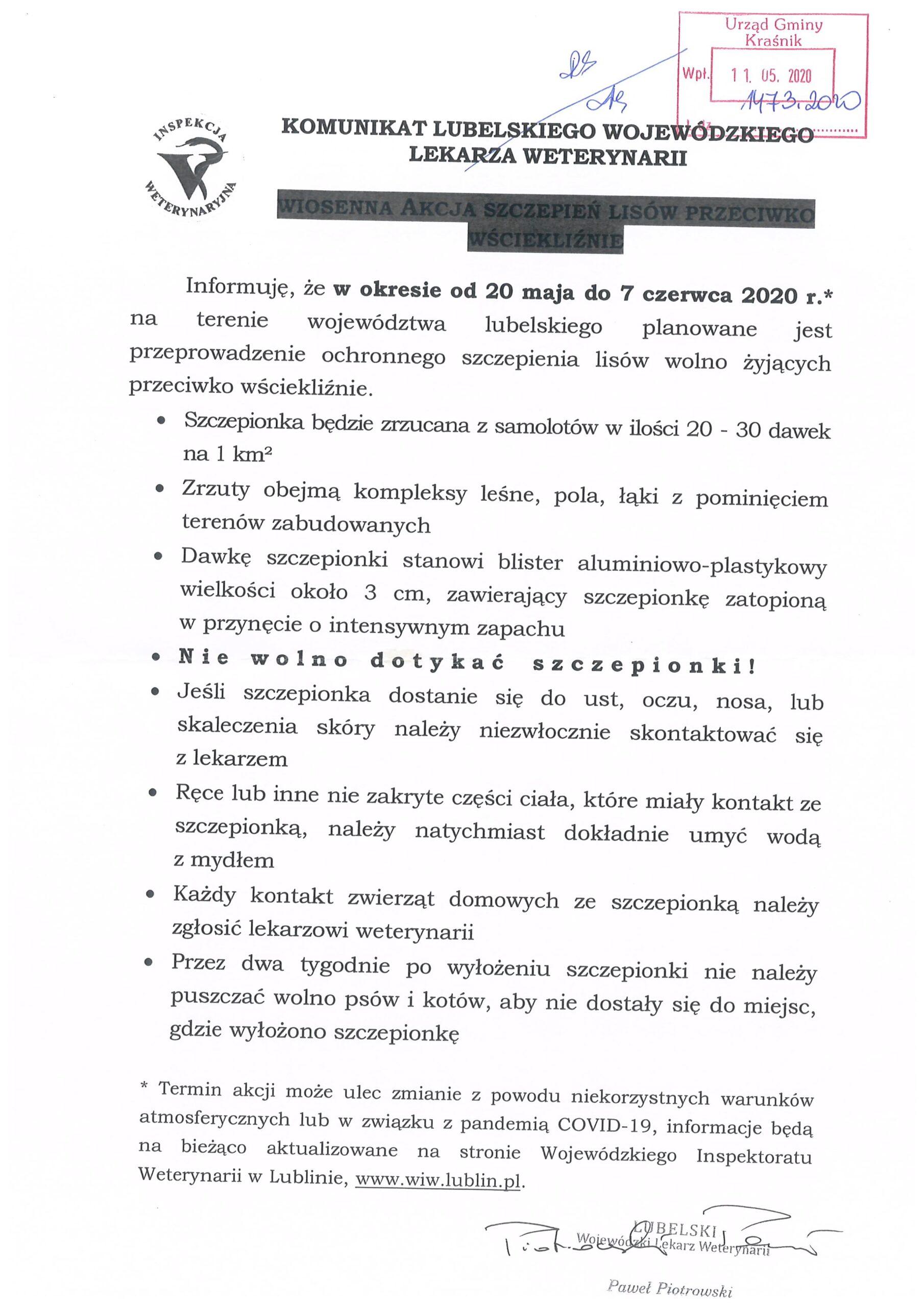 Komunikat Lubelskiego Wojewódzkiego Lekarza Weterynarii scaled