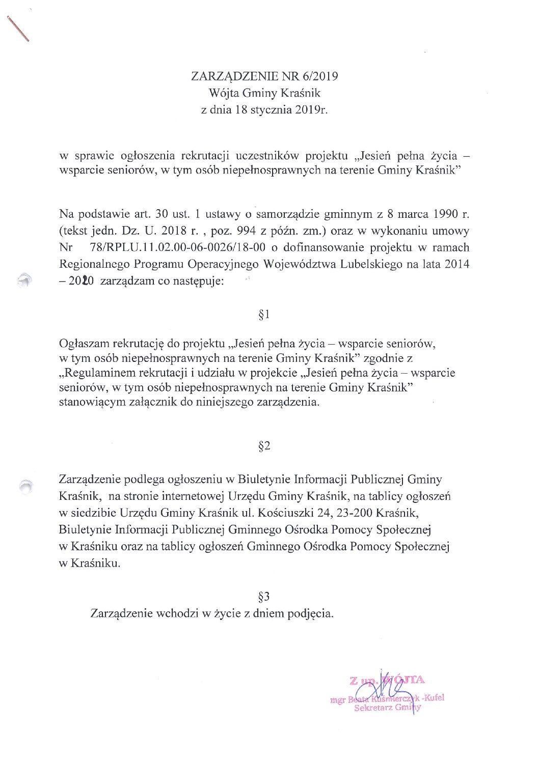 """Rekrutacja do projektu """"Jesień pełna życia – usługi społeczne dla osób starszych w Gminie Kraśnik"""""""