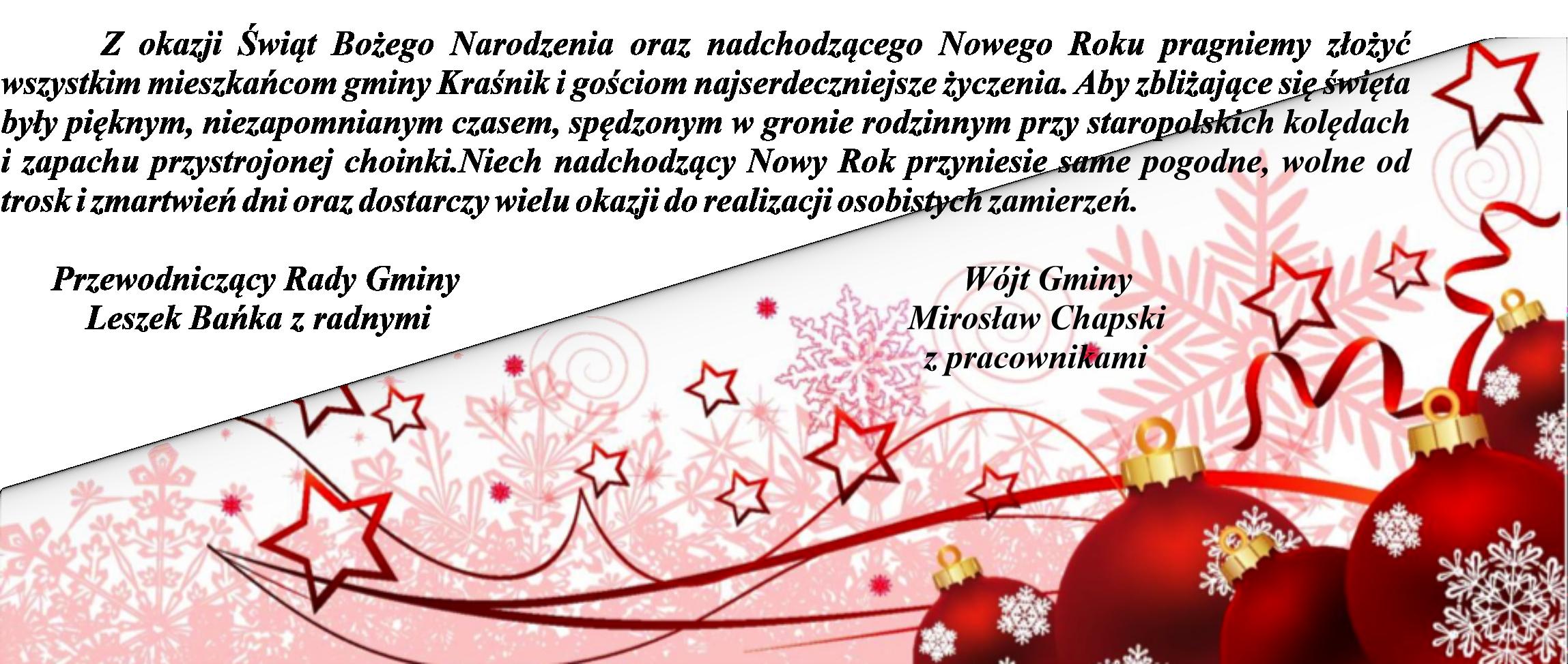 Życzenia z okazji Świąt Bożego Narodzenia oraz nadchodzącego Nowego Roku 2021