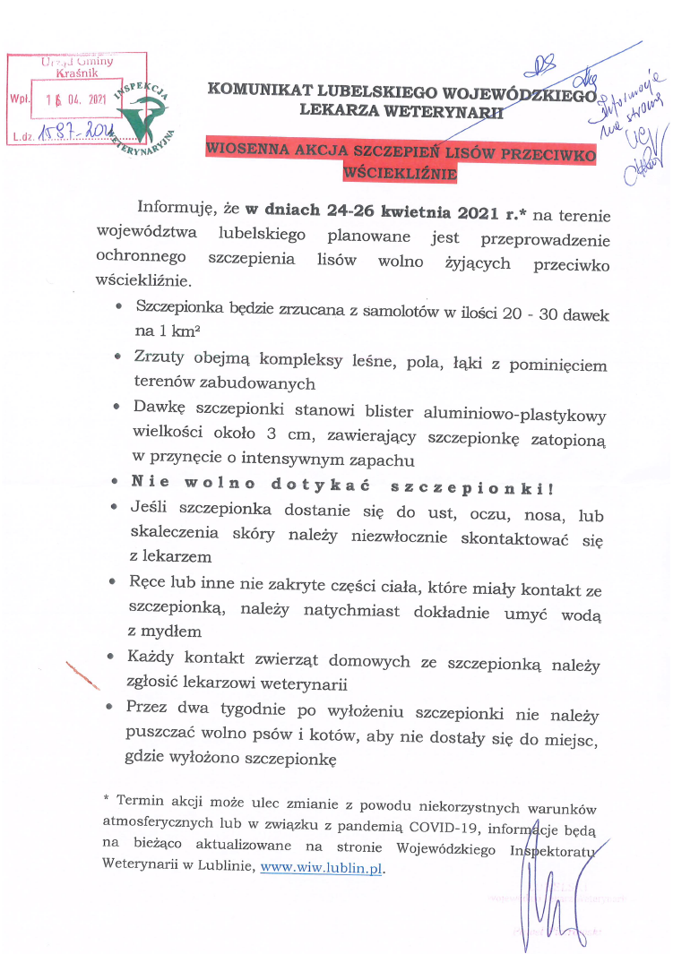Komunikat Lubelskiego Wojewódzkiego Lekarza Weterynarii