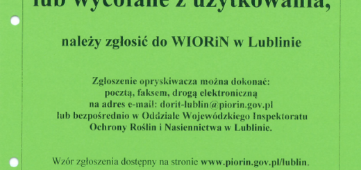 OPRYSKIWACZE sprzedane, zezłomowane lub wycofane z zużytkowania należy zgłosić do WIORiN w Lublinie.