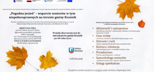 """""""Pogodna jesień"""" wsparcie seniorów w tym niepełnosprawnych na terenie gminy Kraśnik"""