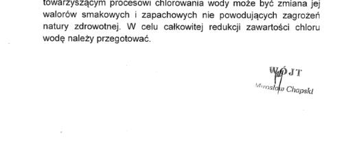Informacja o chlorowaniu wody w ujęciu Stróża-Kolonia
